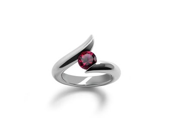 Ruby Bypass Ring Two Tone Tension Set Mounting in Stainless Steel