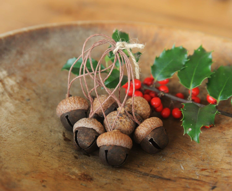 Acorn ornaments made with rusty jingle bells acorn caps for How to make acorn ornaments