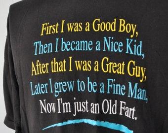 Near Burnout Vintage Old Fart Tshirt Xmas gift father Black Tee Retro XL