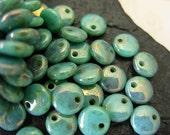 6mm Czech Lentil Glass Beads- Turquoise- Bronze Picasso (50)