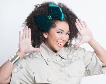 Green & Gold Headband, Christmas Accessories, Velvet Bow Headband, Winter Hair Accessories, Holiday Headband, Emerald Green, Natural Hair