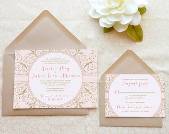 Blush Filigree, Pink and Gold Victorian Wedding Invitations - Spring Wedding - Romantic Wedding