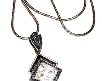 M and Co. Austria Crystal Marcasite Sterling Necklace