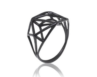 Black Geometric Ring, Black Ring, 3D Black Ring, Urban Geometric Ring, Black Ring, Geometric, Gifts for Her, Black Jewelry, Free Shipping