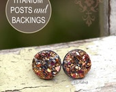 New! Glitter Stud Titanium Post Earrings, Faux Druzy Posts, Magenta and Gold Glitter on Black, Durzy Studs, 10mm