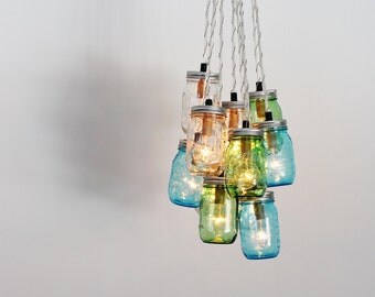 Sea Glass Mason Jar Chandelier - Upcycled Hanging Chandelier Lighting Fixture Featuring Green Blue & Clear Jars - BootsNGus Modern Lighting