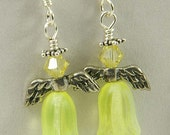 Yellow Angel Earrings - Guardian Angels - Angel Guides - Solar Plexus Chakra - Jonquil Yellow