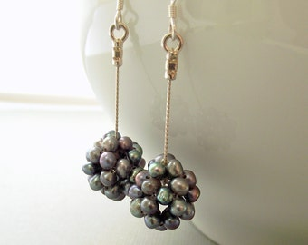 grey pearl dangle earrings, pearl and sterling silver earrings