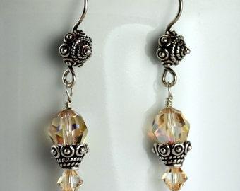 Ceylon Topaz AB Swarovski Crystal & Bali Beadcap Earrings