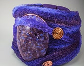 Purple Bold Stone Gauze Fiber Wide Wrap Cuff Bracelet - Copper Wire Flexible No. 166