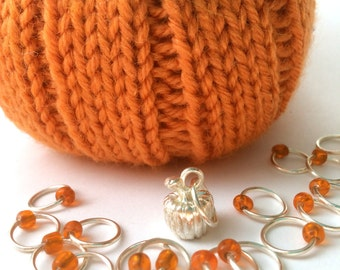 Halloween Snag Free ring stitch markers/knitting/O-rings - PUMPKIN PIPS
