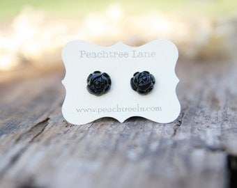 Black Rose Flower Post Earrings // Bridesmaid Gifts // Maid of Honor Gifts // Rustic Vintage Wedding
