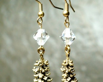 Golden Christmas Trees Earrings. You Choose Bead and Ear Wire
