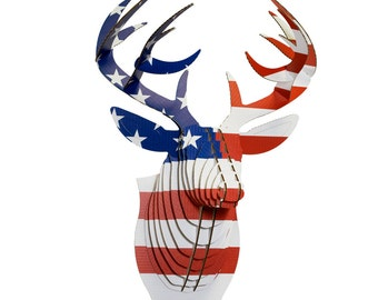 cardboard safari bucky cardboard deer head large us flag print