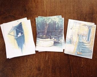 "notecard set ""gattini d'italia"" blank - set of 6 + envelopes"