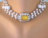 PEARL CHOKER, Pearl Necklace, Great Gatsby Jewelry, Statement Necklace, Pearl Wedding Choker, Art Deco, Citrine, Amber, Topaz, Upcycled