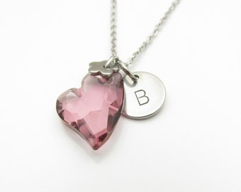 Heart Necklace, Swarovski Crystal Heart, Designer Edition Cut, Antique Pink, Initial Necklace, Personalized Stamped Initial Monogram Y152