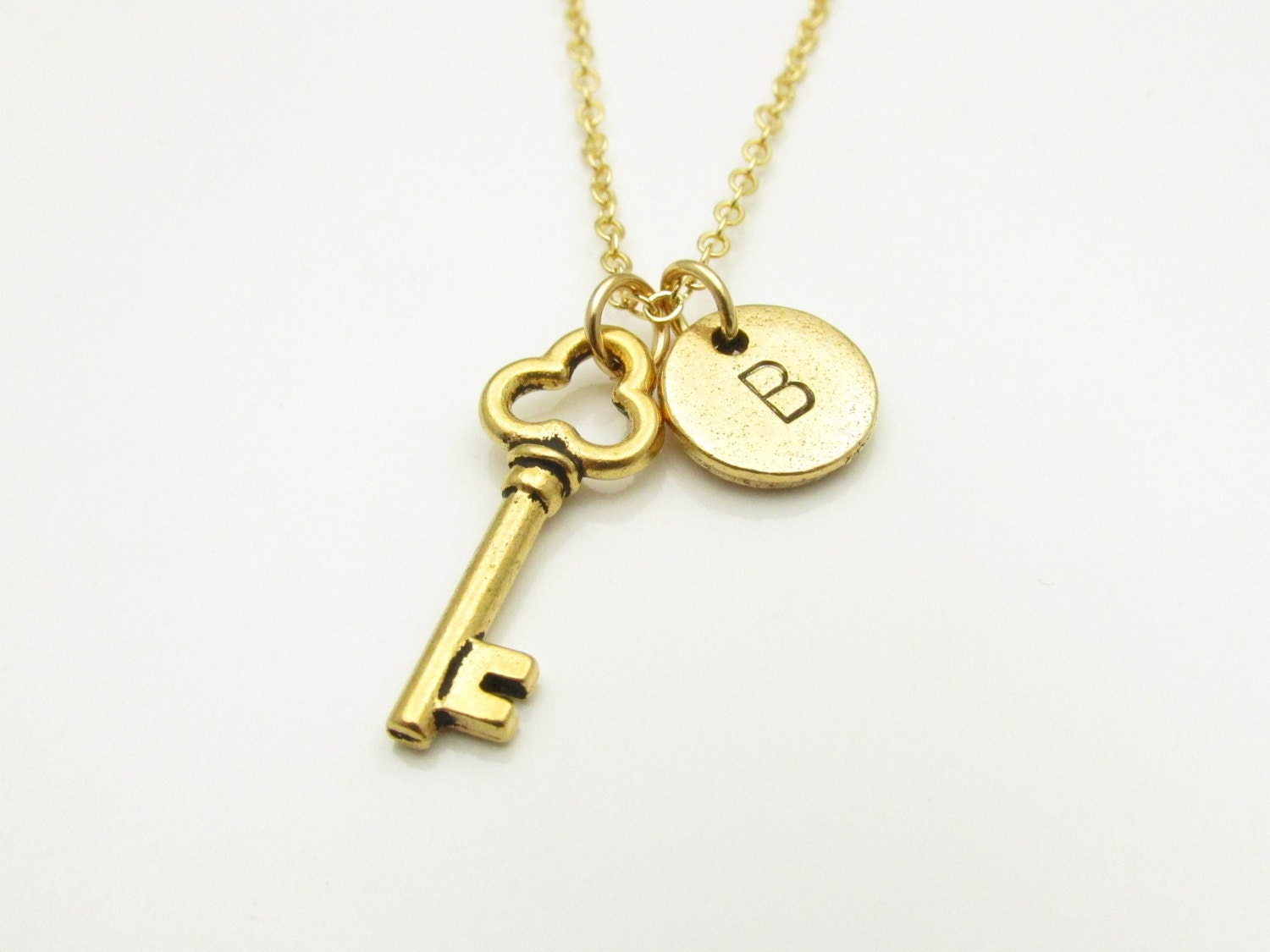 key necklace gold skeleton key charm initial necklace