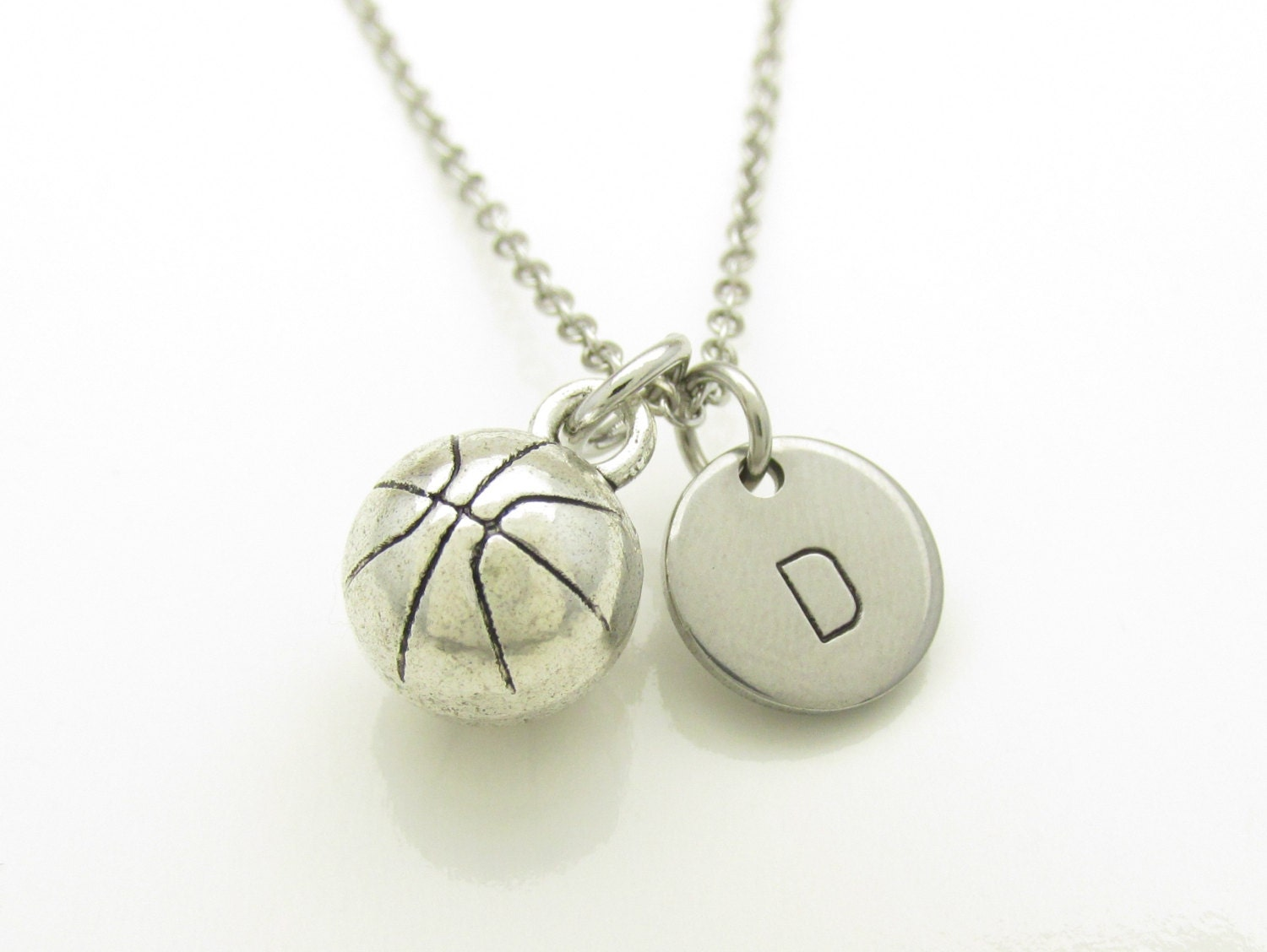 basketball necklace silver basketball charm initial