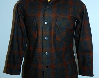 vintage 1950s plaid shirt National button loop wool flannel oxford Mens S