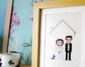 Wedding Custom Pixel Cross Stitch Portrait (Framed)