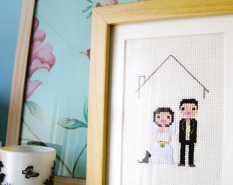 Wedding Custom Pixel Cross Stitch Portrait (Framed)