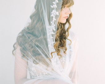 Beaded Wedding Veil, Beaded Mantilla Veil, Ivory Veil, Bridal Veil, Chapel Length Wedding Veil - Style 403