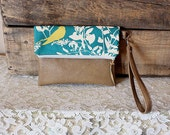 Bird Clutch Wristlet Pouch with vegan leather trim Teal Citrine Tan Wrist strap  --READY--