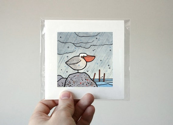 Pelican Miniature Watercolor Print - coastal bird art
