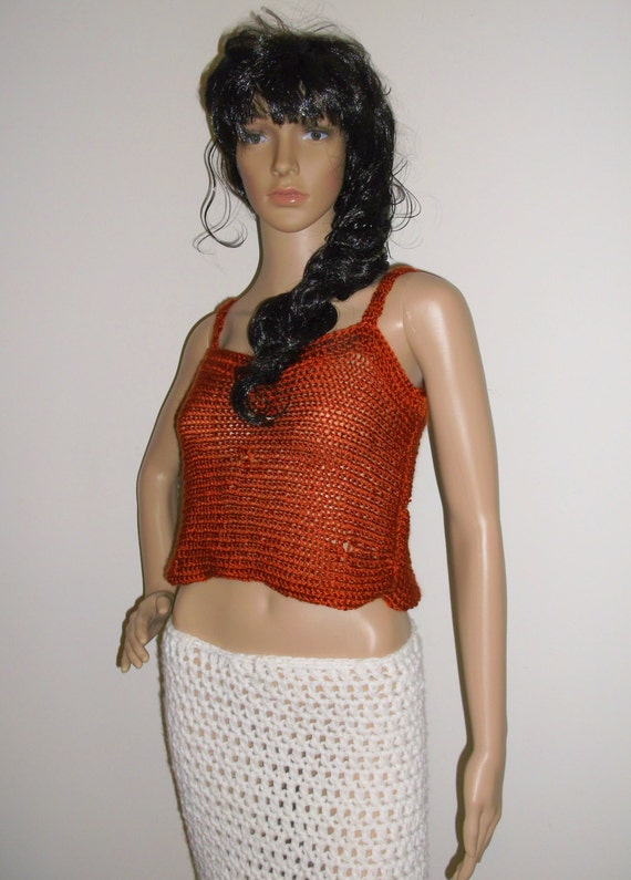 Hand Knit Women's Tank Top, Destroyed Tank, Summer Top, Distressed Knit Crop Top, Knit open loose stitch in Dark Copper