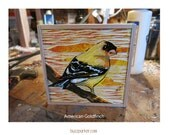 American Goldfinch, Original Carved Wood Painting -Backyard Birds- by Buzz Parker