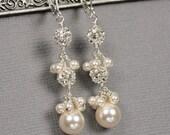 Swarovski Crystal Pearl and Rhinestone Ball Dangle Earrings, Pearl Bridal Jewelry, Pearl Wedding Earrings, Unique Bridal Jewelry