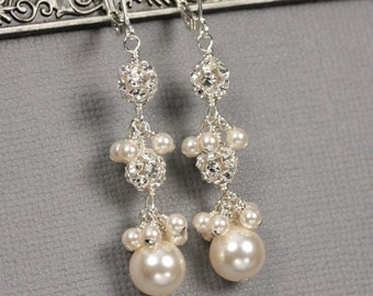 Swarovski Crystal Pearl and Rhinestone Ball Dangle Earrings, Pearl Bridal Jewelry, Pearl Wedding Earrings, Unique Bridal Jewelry