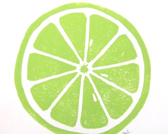 PRINT - Lime Green LINOCUT citrus 8x10 letterpress print for the kitchen
