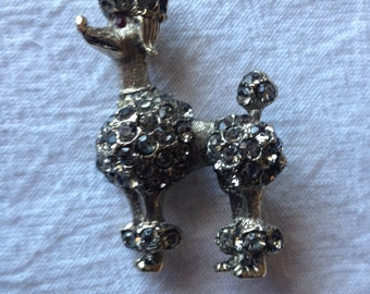 BSK Fancy Poodle Brooch Rhinestones
