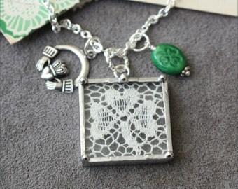 Shamrock St. Patrick's Irish Clover Lace, Claddagh, and Shamrock Bead Art Glass Pendant Charm Necklace