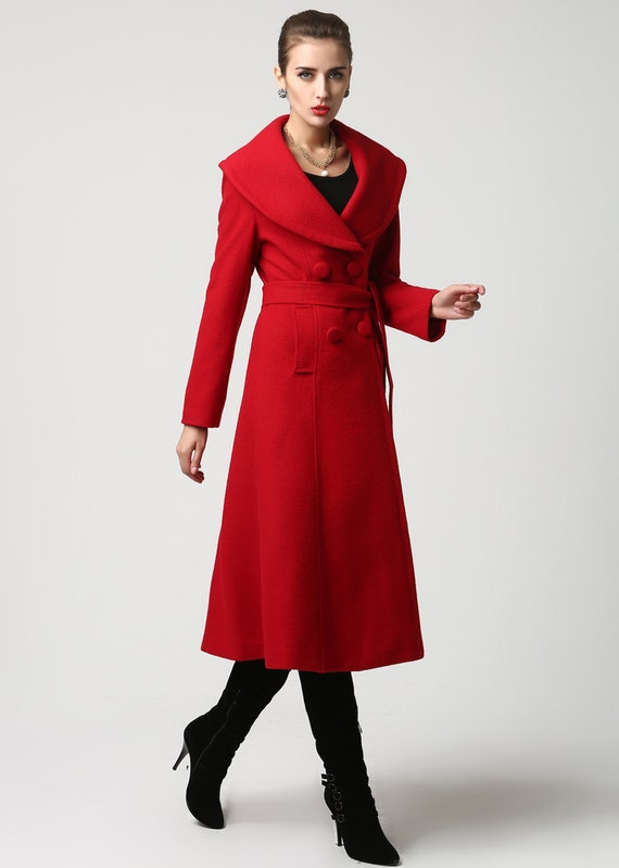 trench coat long coat red coat wool coat Red wool coat