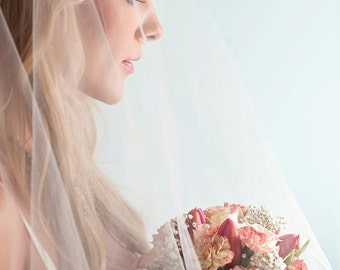 Bridal Illusion Wedding Veil White Ivory Hip Length