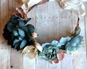 Boho bridal crown, blue flower crown, woodland headpiece, floral hair wreath, bridal headband, circlet, hair accessory - Maebry