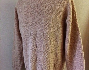 Vintage Men's 80's Sweater, Wool, Tan, Long Sleeve, Pull Over (XL)