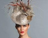 Boa prints Fascinator, Disk fascinator , Snake print headpiece, Couture Derby Hat