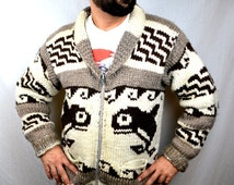 Authentic Numbered Vintage 1970s Lebowski Indian Pure Wool Sweater Cowichan Cardigan