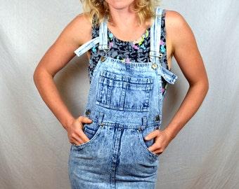 RARE Vintage 80s Acid Wash Jumper Overall Skirt