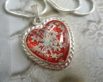 Dorothy's Ruby Red Slippers-Sparkling, Ruby Red Pressed Flower Heart Pendant-Queen Anne's Lace-Symbolizes Passion,Peace-Gifts Under 30