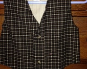 Hobbit Vest in recycled Plaid and Pinstripe
