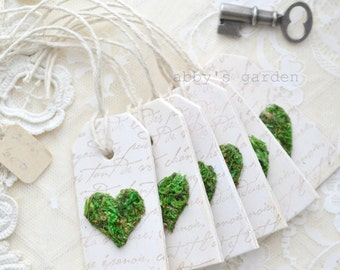 Set of 6 Moss Heart Tags