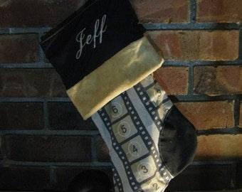 Personalized Retro Old Film Strip Elven Christmas Stocking