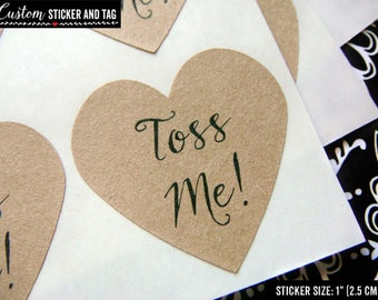 63 toss me confetti bag stickers, heart stickers, 13 colors to choose, envelope seals, wedding favor, wedding decor, wedding sticker (S-73)