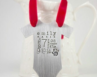 Personalized Baby's First Christmas ornament - Baby Vest Metal Bodysuit Ornament - Baby Stats - Statistics - Baby Clothes Christmas Ornament