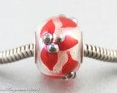 Red Poinsettia Big Hole Charm Bead, Limited Edition, Christmas Holidays, SRA Handmade Lampwork